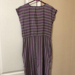 50's/60's Purple Striped Pencil Dress M